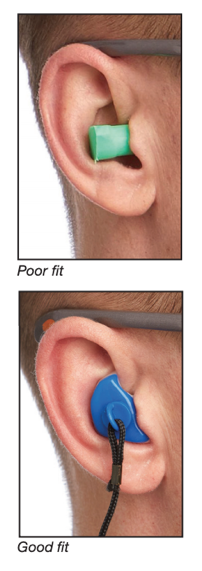 Foam hearing protector with poor fit and hearing protector with good fit comparison photo